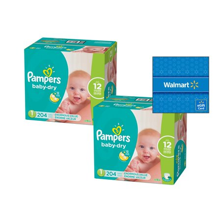 [Buy 2, Get $15 Gift Card] Pampers Baby-Dry Diapers Size 1, 204 Count (Total 408 Diapers) (Diaper Drawing)