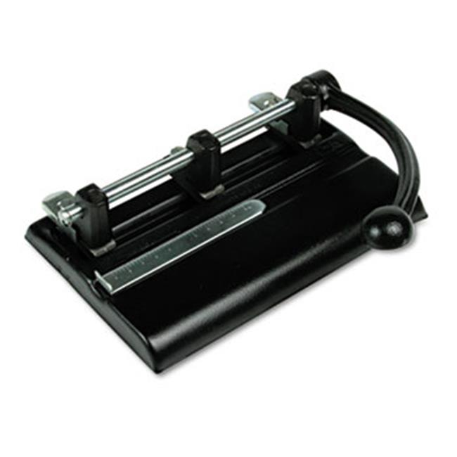 Master. 1340PB 40-Sheet Lever Action Two- to Seven-Hole Punch, 13/32'' Holes, Black