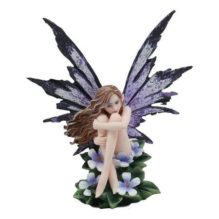 "Ebros Amy Brown Whimsical ""Luna"" Periwinkle Flower Nude Garden Fairy Figurine Fae Magic Purple Fairy Statue Fantasy Collectible 5.25""H"