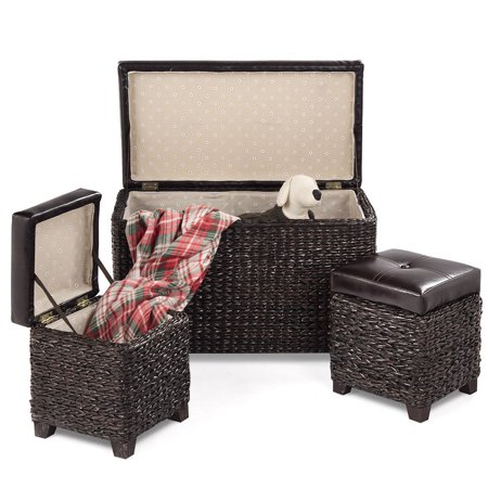 Gymax 3-Piece Bench Foot Rest Hassocks Rattan Stools Leather Ottoman Seating Storage ()