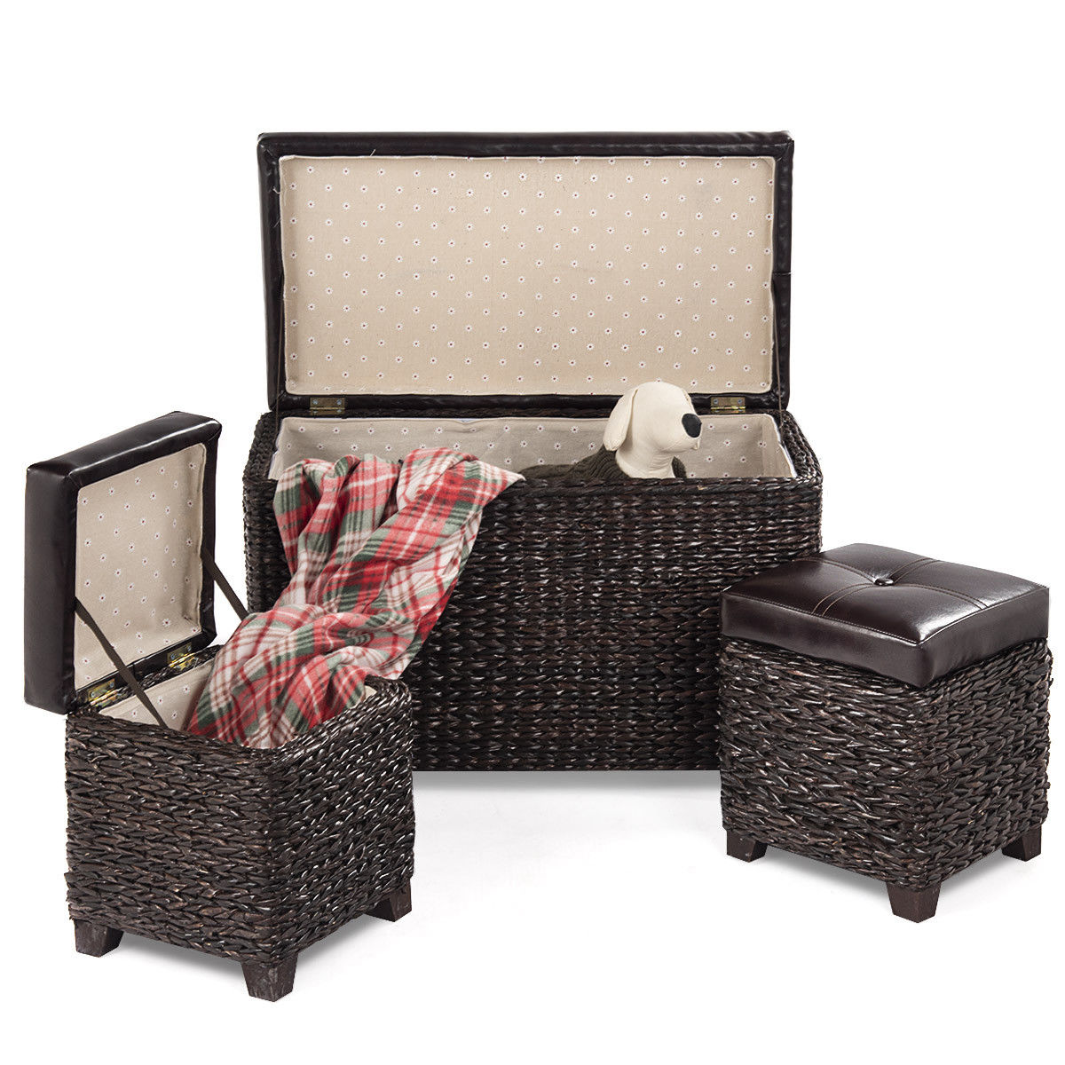 Gymax 3 Piece Bench Foot Rest Hassocks Rattan Stools Leather Ottoman  Seating Storage