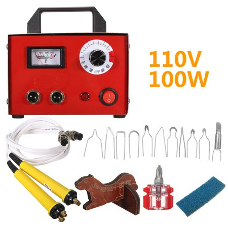 100W Digital Display Pyrography Poker Carving Machine Gourd Laser Wood Burning Pen Multifunction 110V Heating Wire Pen Craft Tool Kits with 10 Poker