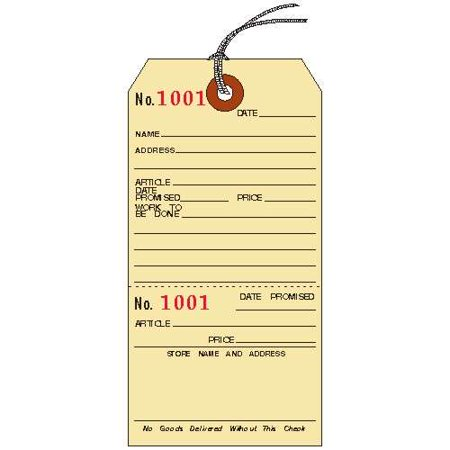 """Repair Tags, 5-1/4"""" x 2-5/8"""", Manila Cardstock with Stub, Strung, Consecutively Numbered, PACK OF 50"""