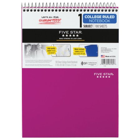 Five Star Wirebound College Ruled Note Pad - 1 Subject, Purple