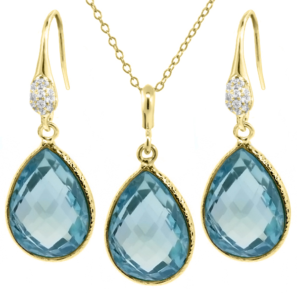 "22.50 Ct Blue Topaz 16x12mm Pear Shape Gold Plated Silver Jewelry Set 18"" Chain by"