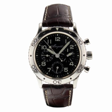 Pre-Owned Breguet Type Xx 3800ST Steel  Watch (Certified Authentic & Warranty) Breguet, Type Xx, 3800st, Automatic Self Wind, Used, Production Year:2010, Case Material: Stainless Steel, Dial Type: Analog, Dial Color: Black, Crystal: Sapphire, Band Length: 7.7in, No Box Or Papers, External Condition: Excellent,