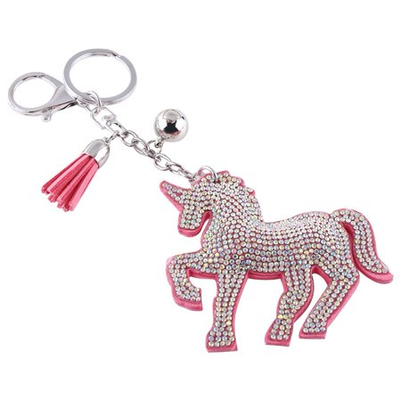 Zerone Lucky Unicorn Horse Crystal Keychain Handbag Charms Pendant Key Ring With Tassel,  Hang Bag Pendant