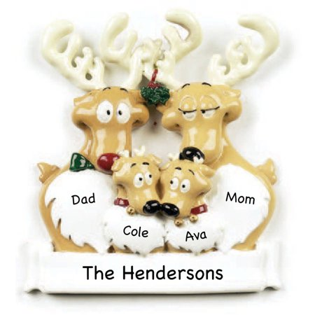 - Personalized Reindeer Family of 4 Ornament