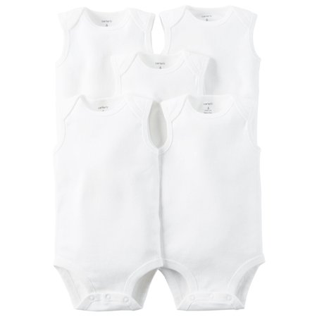 Carters Unisex Baby 5-Pack Sleeveless Original Bodysuits White