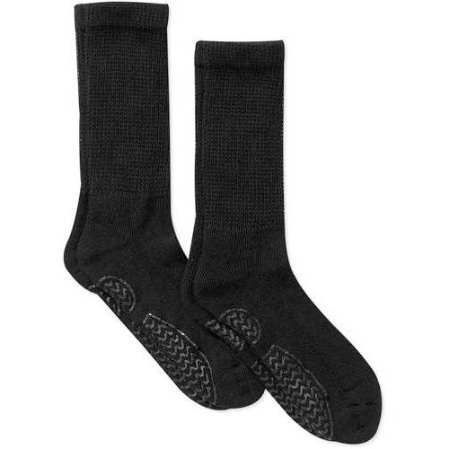 Men's Diabetic Crew Socks with Gripper Sole - 2 Pack