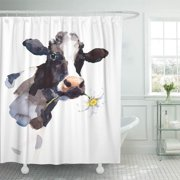 KSADK White Watercolor Cow with Daisy Flower in Its Mouth Farm Animal Portrait Hand Black Shower Curtain 66x72 inch