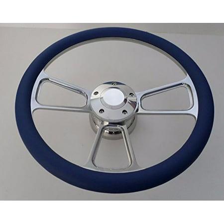 Royal Blue Half Wrap 14 BILLET Steering wheel kit with Hub adaptor Horn Button