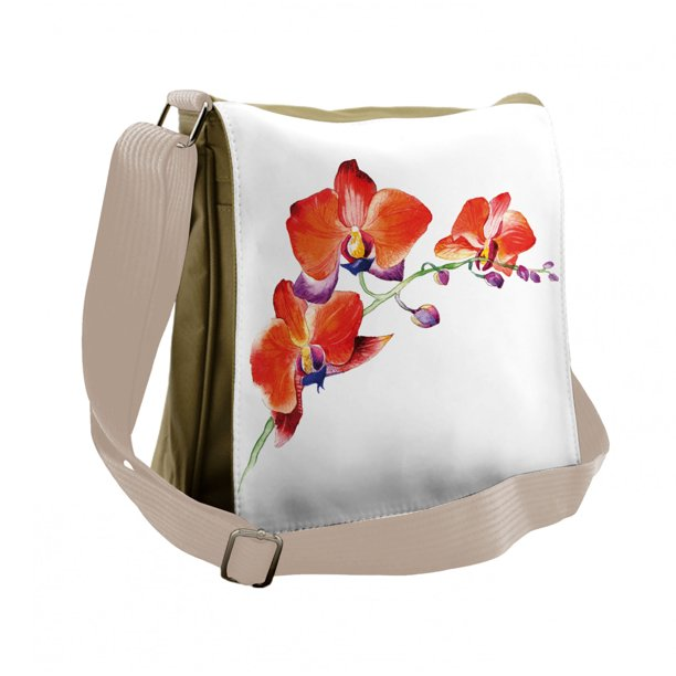 Floral Messenger Bag, Orchid Branch Blooms, Unisex Cross-body, by Ambesonne
