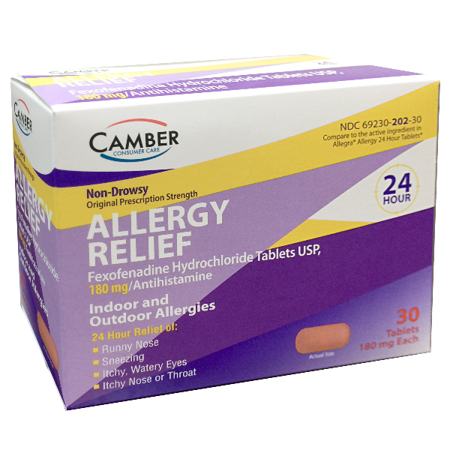 30ct Tablet (Camber Fexofenadine 180mg Allergy Relief 30ct)