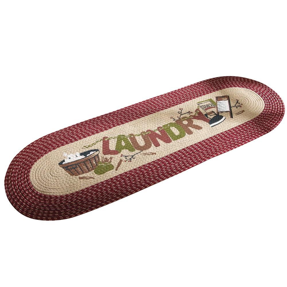 Vintage Laundry Room Decorative Braided Floor  Runner Rug, Burgundy