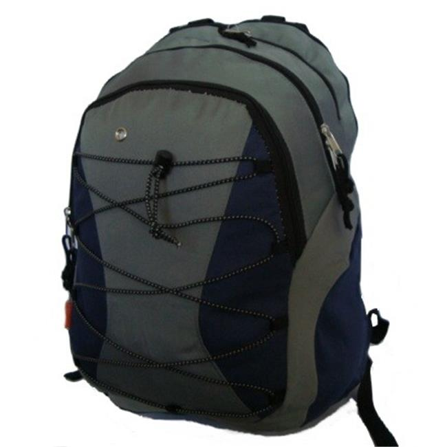 K-Cliffs Backpack With 3 Compartment & 1 CD Pouch 18.5 x 12 x 9 in. Navy & Grey