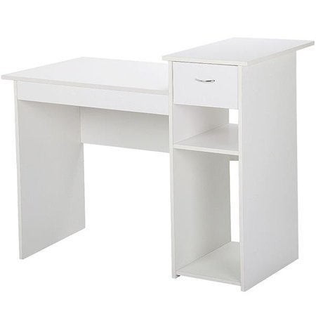 Small Computer Desk Home Office Desk Laptop Table w/Drawer for Small Space White ()