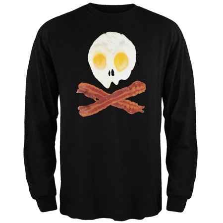 - Eggs And Bacon Skull And Cross Bones Black Adult Long Sleeve T-Shirt