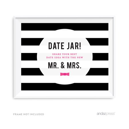 Date Jar - Share Best Date Idea Modern Black and White Stripes Wedding Party Signs (Black And White Party Ideas)