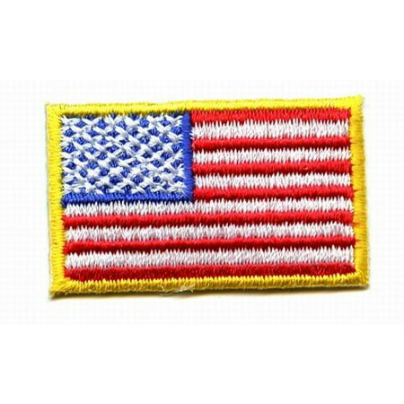 Small American Flag - Yellow Border - USA - Iron on Embroidered Applique Patch