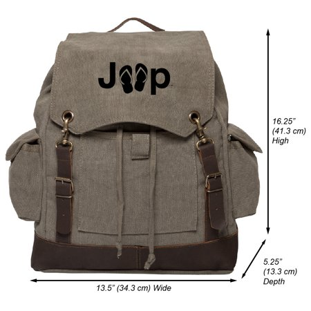 Jeep with Flip Flops Vintage Canvas Rucksack Backpack with Leather