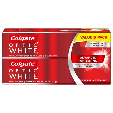 Colgate Optic White Whitening Toothpaste, Sparkling White - 5 ounce (2
