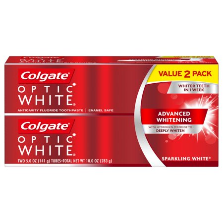 Colgate Optic White Whitening Toothpaste, Sparkling White - 5 ounce (2 pack) (Sparkle Whitening)
