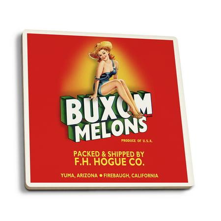 Buxom Melons - Pinup Girl - Vintage Crate Label (Set of 4 Ceramic Coasters - Cork-backed, Absorbent)