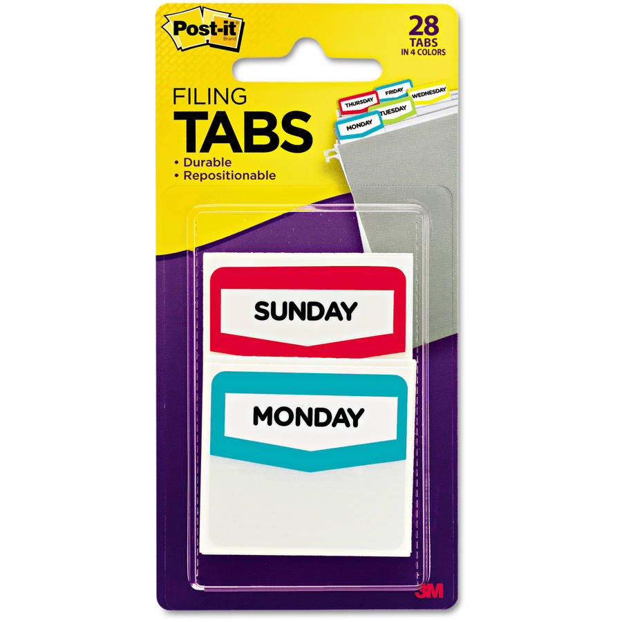 Post-it Pre-Printed File Tabs, Monday-Sunday, Assorted Colors, 28pk