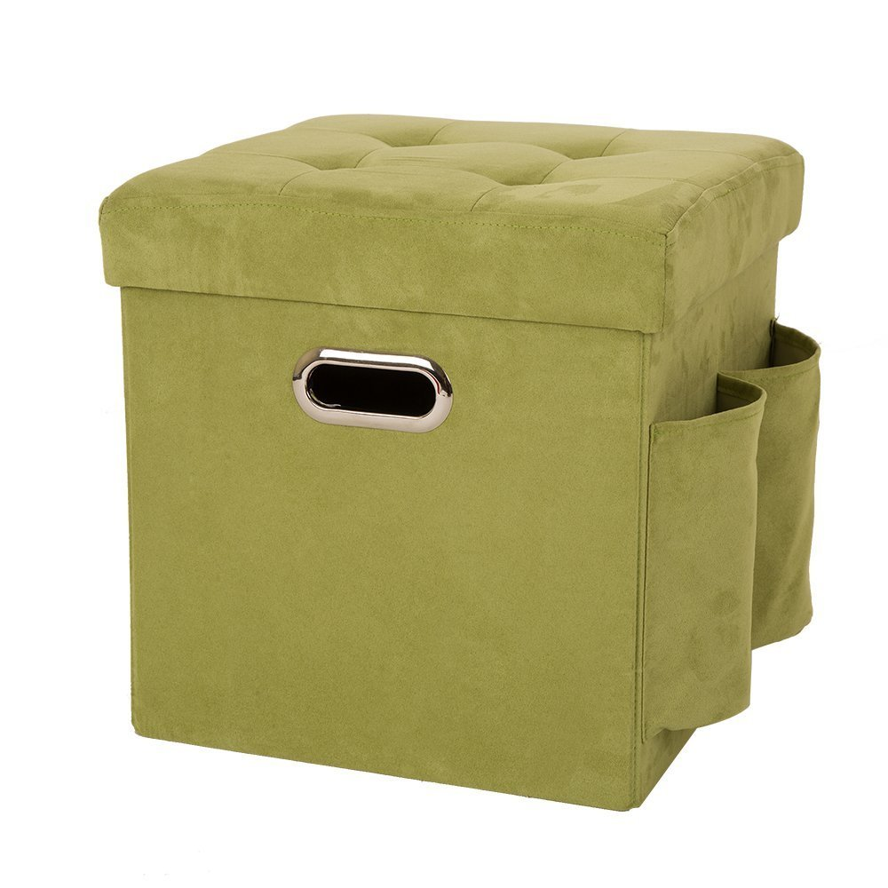 Glitzhome Foldable Faux Suede Cube Storage Ottoman With Padded Seat Green