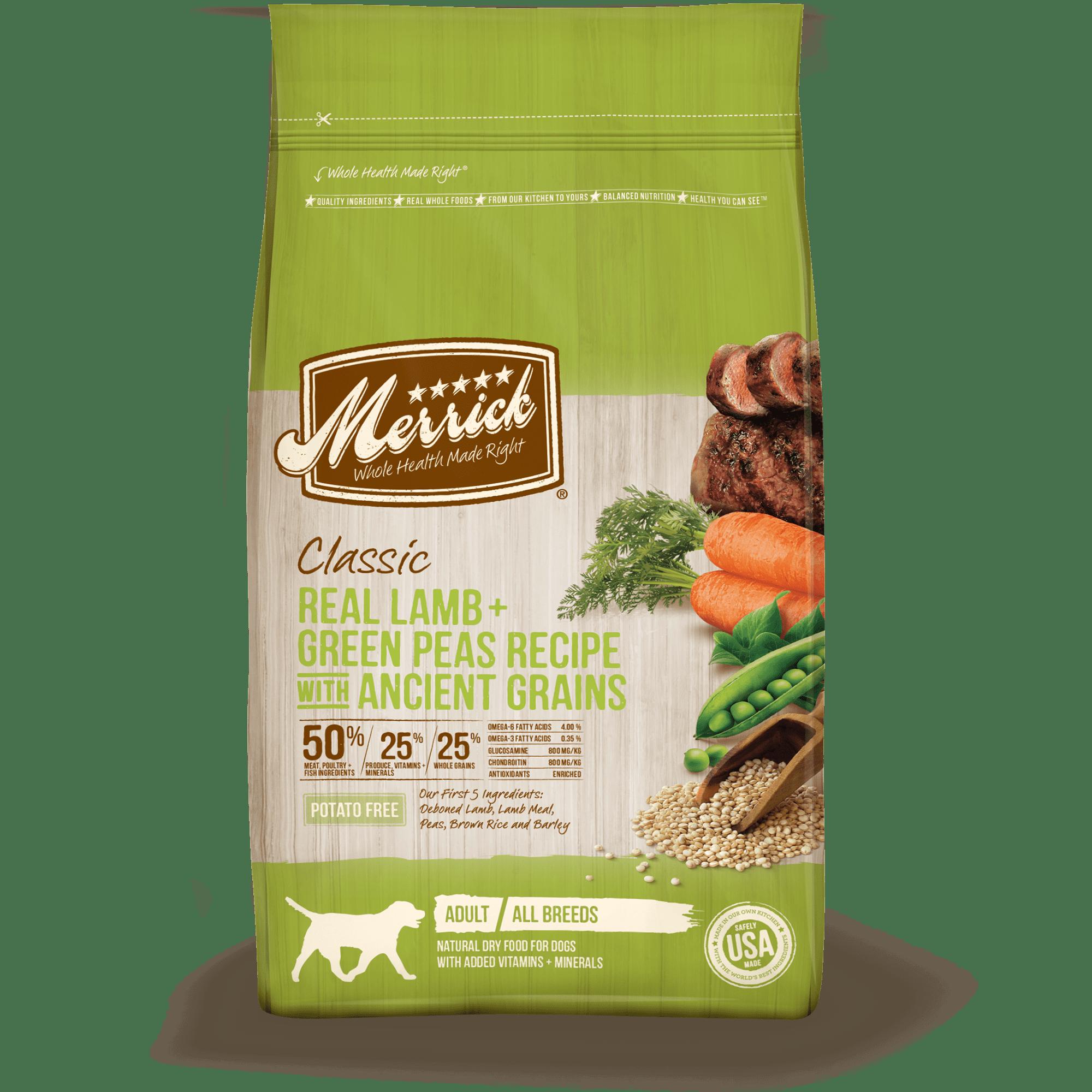 Merrick Classic Real Lamb, Green Peas + Ancient Grains Dry Dog Food, 25 lb
