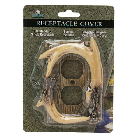 Rivers Edge Products Receptacle Cover Deer Antler Faux Antler Outlet Cover
