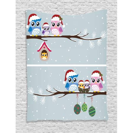 Baby Sports Wall Hanging - Christmas Tapestry, Owl Family with Santa Hats on Tree Branch with Babies in Nest Birds Snowy Winter Print, Wall Hanging for Bedroom Living Room Dorm Decor, Grey, by Ambesonne
