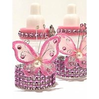 10 Pink Fillable Butterfly Bottles Baby Shower Favors Prizes Girl Boy Decorations