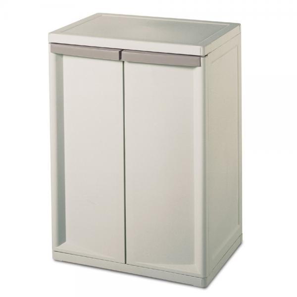 Sterilite 01408501 2-Shelf Cabinet with Putty Handles, Pl...