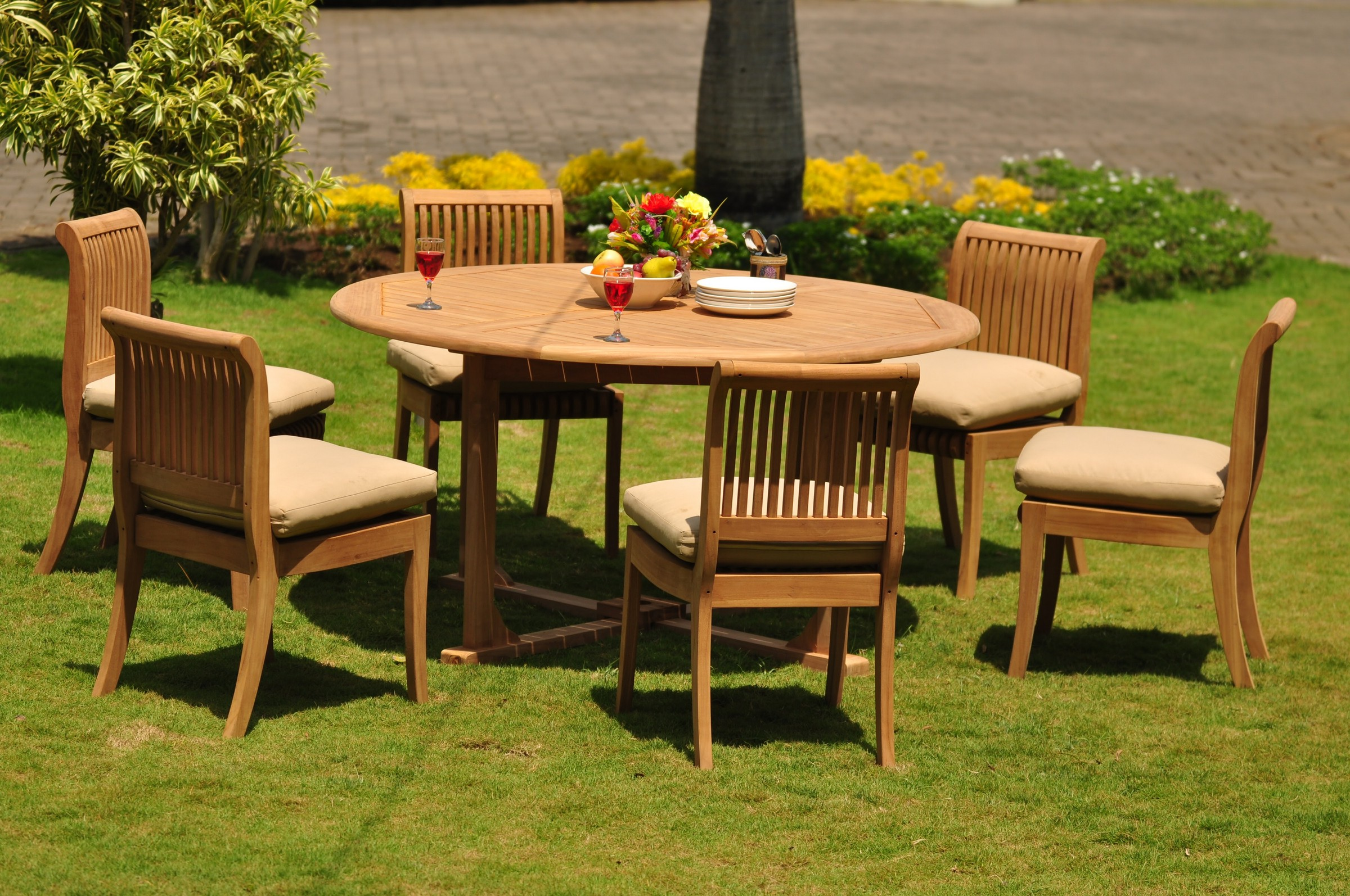 Teak Dining Set 6 Seater 7 Pc 60 Quot Round Table And 6 Giva