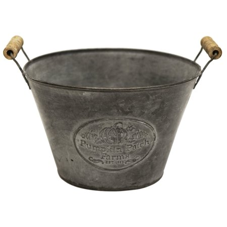 T406 Tin Pumpkin Patch Farms Bucket W/Handles, Large, This flower bucket features a fall inspired design perfect for your seasonal decorations By Great Finds
