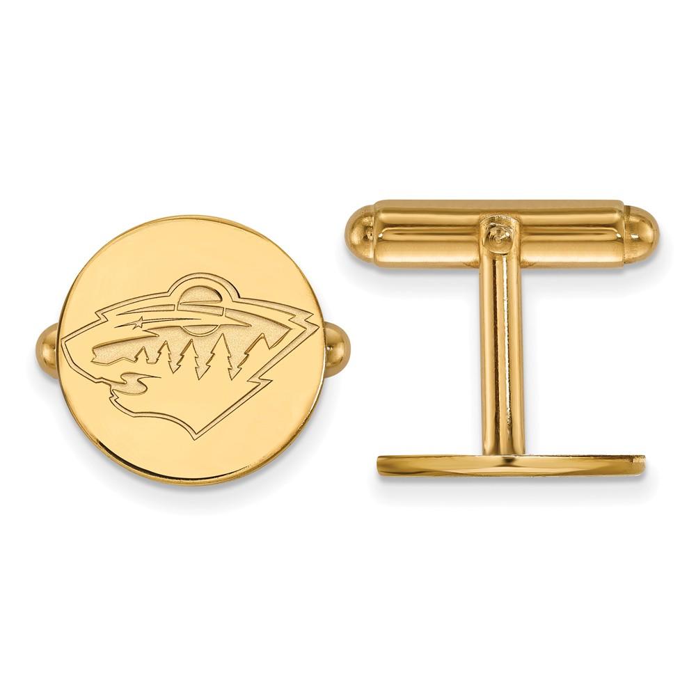 Solid 14k Yellow Gold NHL Minnesota Wild Cuff Links