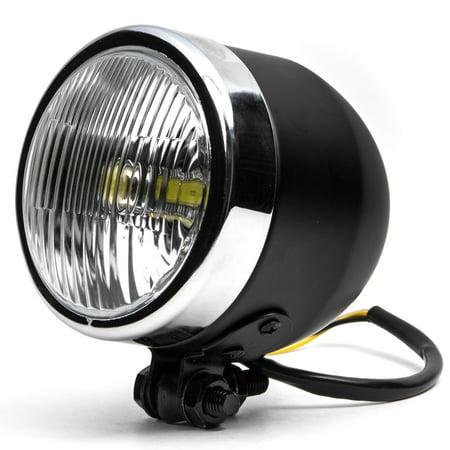 Krator 4 25  Mini Headlight W  High Low Beam Lights Led Bulb Black W  Chrome Housing For Yamaha Tx Sr Cs Yx Rd 350 400 500 600 650 750