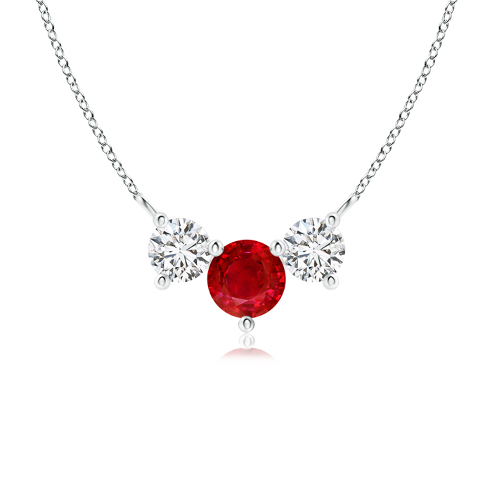 July Birthstone Pendant Necklaces Trio Ruby and Diamond Necklace Past Present Future in 950 Platinum (5mm Ruby)... by Angara.com