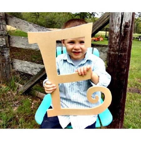 Wooden Curlz Letter E, 12'' Unfinished Wall Letter, Craft DIY Paintable