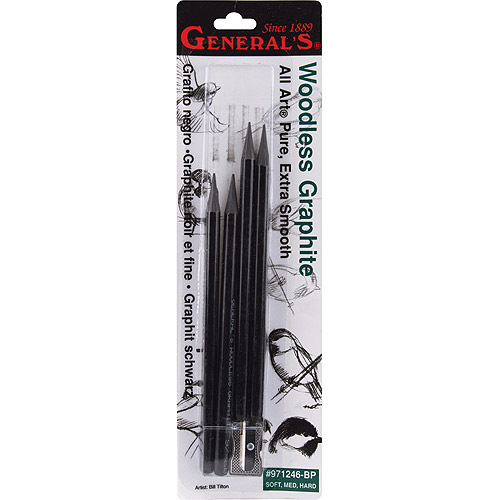 General Pencil Woodless Graphite Pencils, Soft, Medium, Hard, 4/pkg