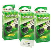 Fujifilm QuickSnap Flash 400 Disposable 35mm Camera (3 Pack)+ Quality Photo Microfiber Cloth