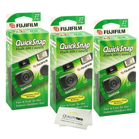 - Fujifilm QuickSnap Flash 400 Disposable 35mm Camera (3 Pack)+ Quality Photo Microfiber Cloth