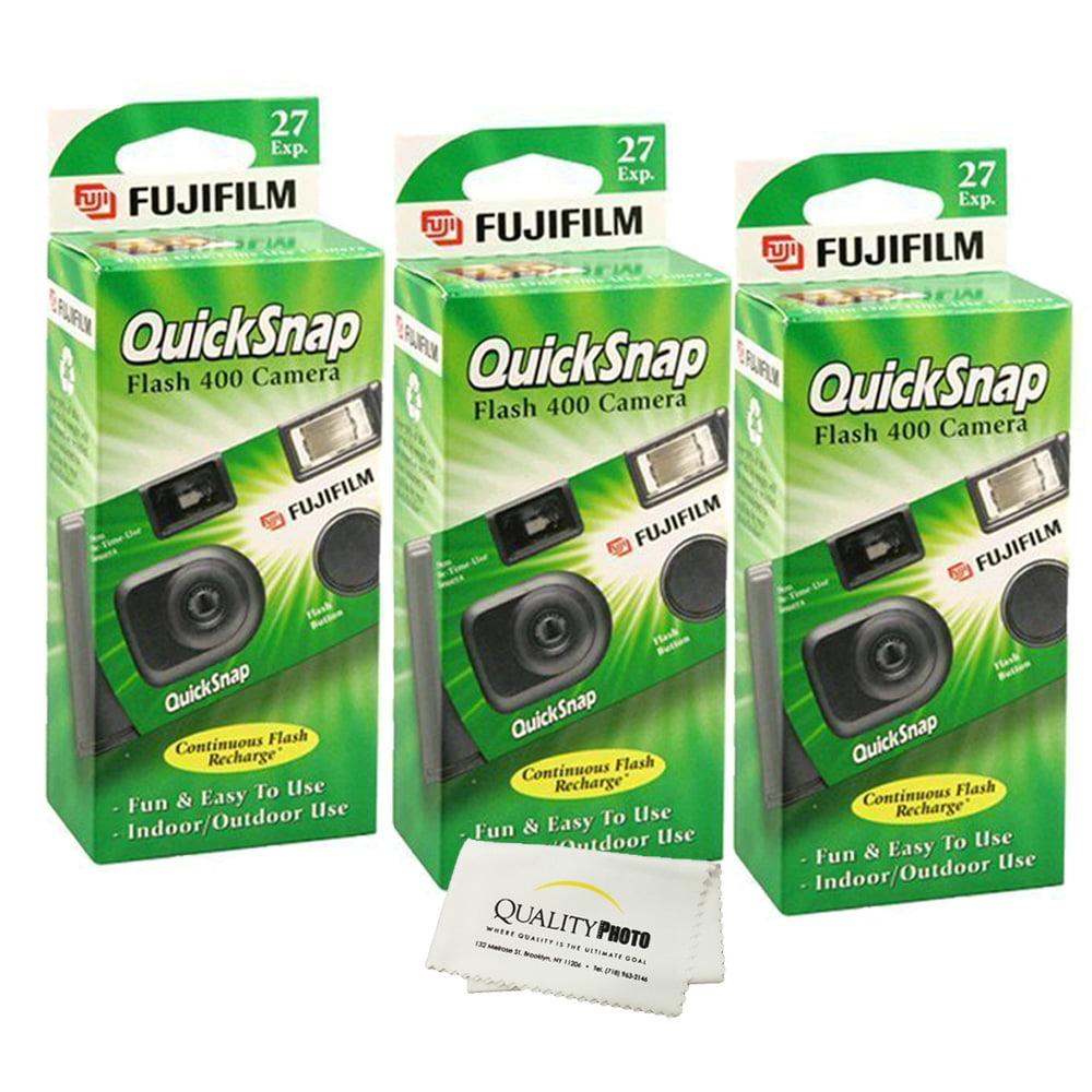 Fujifilm QuickSnap Flash 400 Disposable 35mm Camera (3 Pack)+ Quality Photo Microfiber Cloth