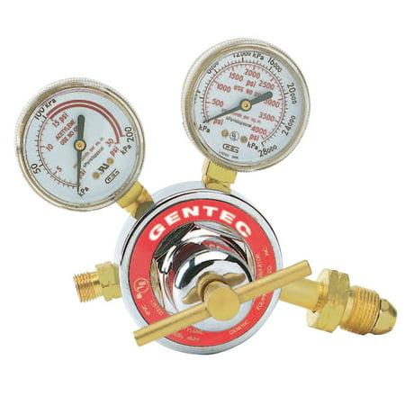 Gentec Single Stage Regulators, Acetylene, CGA 510, 400 psi inlet At 400 Pro Regulator