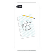 "Apple iPhone Custom Case 4 4S White Plastic Snap On - ""Sketching Escape"" Funny Bear Drawing Punching on Paper"