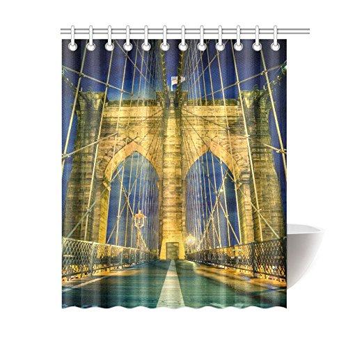 GCKG New York City Shower Curtain Brooklyn Bridge Polyester