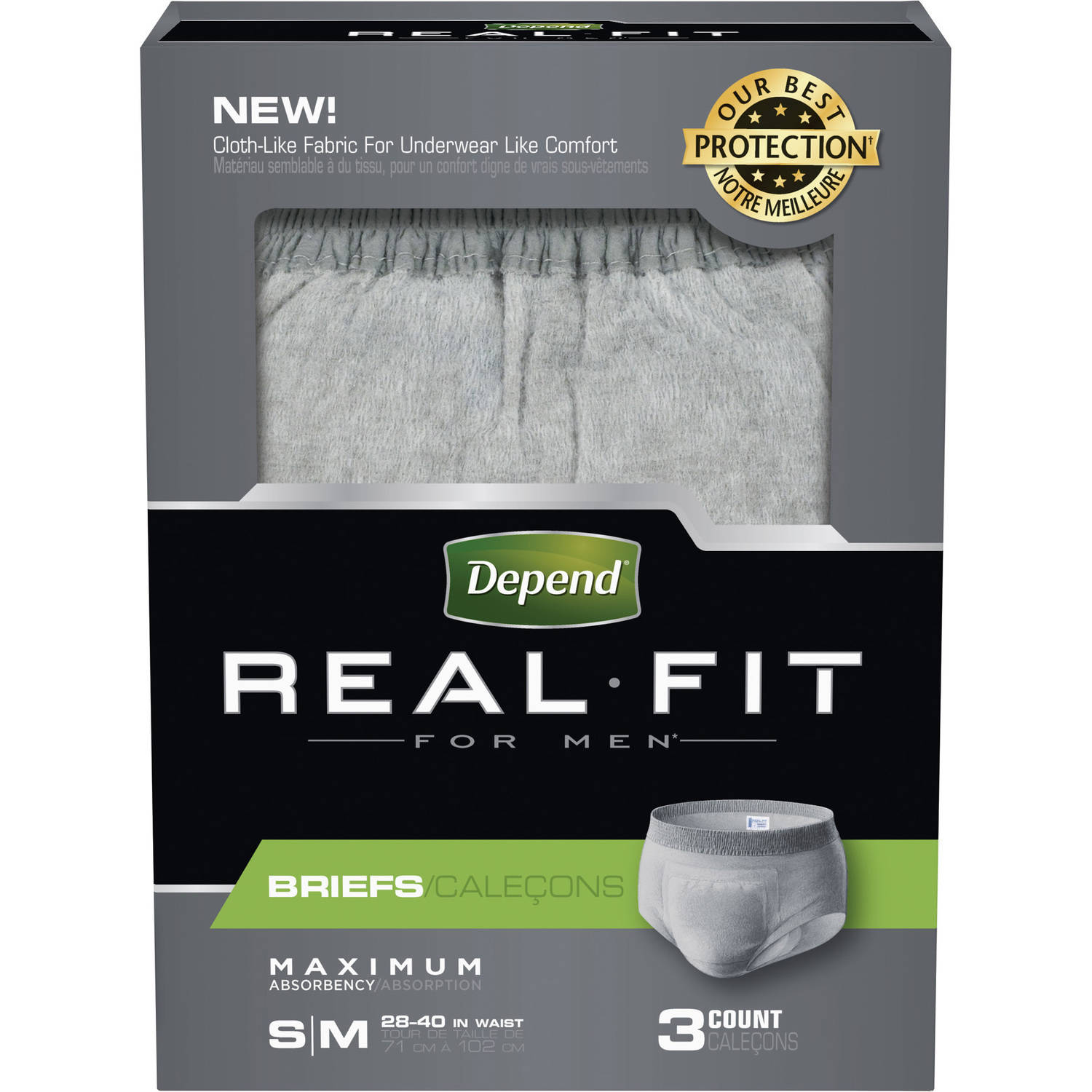 Real Fit for Men Briefs, Small/Medium, Pack/3