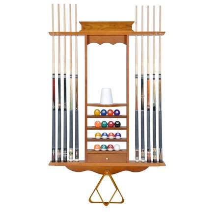 Pool Cue Rack Only - 10 Billiard Stick & Ball Wall Rack Oak Finish Made of Wood